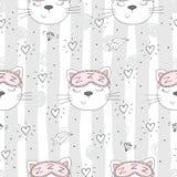 Nahtloses Muster mit netter kleiner Katze Auch im corel abgehobenen Betrag lizenzfreie abbildung