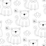 Nahtloses Muster mit netter kleiner Katze Auch im corel abgehobenen Betrag Stockfotos