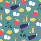 Nahtloses Muster mit Obst und Gemüse Stockbild