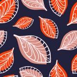 Nahtloses Muster mit orange Handgezogenen Bl?ttern lizenzfreie abbildung
