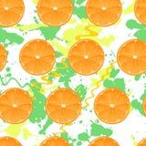 Nahtloses Muster mit Orangen Vektorbeschaffenheit Illustration Mehrfarbige Flecken Lizenzfreies Stockbild