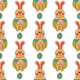 Nahtloses Muster mit Ostern bunny-3 Stockfotografie