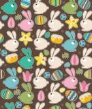 Nahtloses Muster mit Ostern-Kaninchen und -frühling Stockfotos