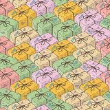 Nahtloses Muster mit Paket-Kästen lizenzfreies stockbild