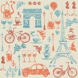 Nahtloses Muster mit Paris-/Frankreich-Elementen. Lizenzfreie Stockfotografie