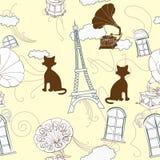 Nahtloses Muster mit Paris und Grammophonen Stockfotografie