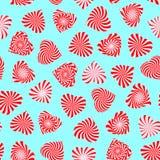 Nahtloses Muster mit Pfefferminzsüßigkeit stilisierte als Herzsymbol Stockfotografie