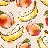 Nahtloses Muster mit Pfirsich und Banane Lizenzfreies Stockfoto