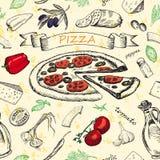 Nahtloses Muster mit Pizza Lizenzfreies Stockbild