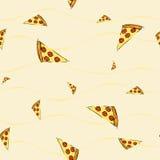 Nahtloses Muster mit Pizzascheibe Stockfotos