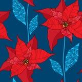 Nahtloses Muster mit Poinsettiablume oder Weihnachtsstern im Rot auf dem blauen Hintergrund traditionelles Weihnachtssymbol Stockbild
