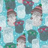 Nahtloses Muster mit polaren Eulen des Hippies Lizenzfreies Stockfoto