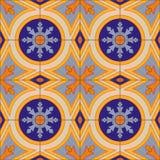 Nahtloses Muster mit portugiesischen Fliesen Azulejo Stockfotografie