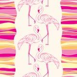 Nahtloses Muster mit punktiertem rosa Flamingo und bunten Streifen Stockbild