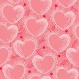 Nahtloses Muster mit punktierten Herzen und Linien Stockfotos
