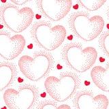 Nahtloses Muster mit punktierten rosa Herzen Stockbild