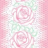 Nahtloses Muster mit punktierten rosa Rosen, Grünblättern und dekorativer Spitze auf dem weißen Hintergrund Stockfotos