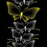 Nahtloses Muster mit punktierten weißen und gelben Schmetterlingen Lizenzfreie Stockfotografie