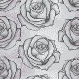 Nahtloses Muster mit punktierter rosafarbener Blume im Schwarzen auf dem Grau Blumenhintergrund in dotwork Art Lizenzfreie Stockbilder