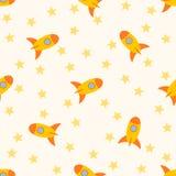 Nahtloses Muster mit Raketen und Sternen für childs Lizenzfreie Stockfotografie