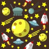 Nahtloses Muster mit Raum, Raketen, Komet, Sterne und Mond und UFO lizenzfreie abbildung