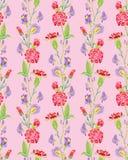 Nahtloses Muster mit realistischen grafischen Blumen Stockfotos
