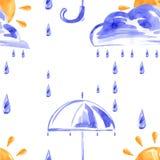 Nahtloses Muster mit Regen, Wolken, Sonne und Regenschirm lizenzfreie abbildung
