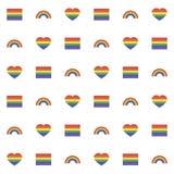 Nahtloses Muster mit Regenbogenherzen und Flagge für Netz Lizenzfreies Stockfoto