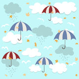 Nahtloses Muster mit Regenschirmen Stockbilder