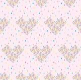 Nahtloses Muster mit Regentropfen und Herzen Lizenzfreie Stockfotos