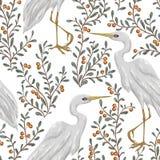 Nahtloses Muster mit Reihervogel und Moosbeeranlage Rustikaler botanischer Hintergrund Stockfoto