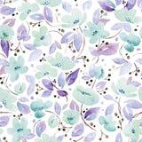 Nahtloses Muster mit reizenden blauen Blumen Lizenzfreies Stockfoto