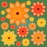 Nahtloses Muster mit Ringelblumen auf grünem Hintergrund Vektor Abbildung