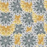 Nahtloses Muster mit romantischen Elementen der Mandala Stockfoto