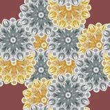 Nahtloses Muster mit romantischen Elementen der Mandala Endlose Beschaffenheit für Jahreszeitfrühlingsdesign Lizenzfreie Stockbilder