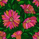 Nahtloses Muster mit rosa Blume und Blättern lizenzfreie abbildung