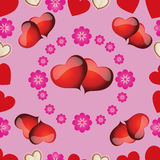 Nahtloses Muster mit rosa Herzen für Valentinstag Stockfoto