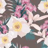 Nahtloses Muster mit rosa Orchideenblumen verzweigen sich und weiße Pfingstrose und viel Art von exotischen Anlagen und von Palmb vektor abbildung