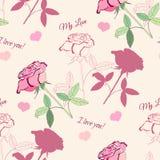 Nahtloses Muster mit rosa rose1-04_à  ½ à  °à ` ‡ Stockfotografie