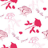 Nahtloses Muster mit rosa rose_6 Lizenzfreies Stockfoto