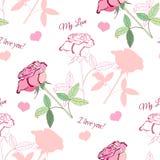 Nahtloses Muster mit rosa rose1-04 Lizenzfreie Stockfotografie