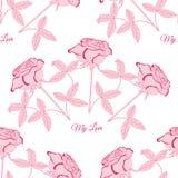 Nahtloses Muster mit rosa rose1-03 Lizenzfreies Stockbild