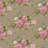 Nahtloses Muster mit rosa Rosen und Blumen Stockfotos
