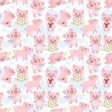Nahtloses Muster mit rosa Schwein vektor abbildung