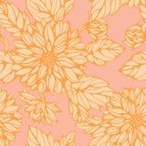 Nahtloses Muster mit rosa und gelber Dahlie Lizenzfreie Stockbilder