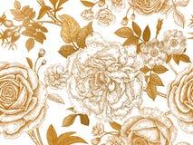 Nahtloses Muster mit rosafarbenen Blumen Stockbild