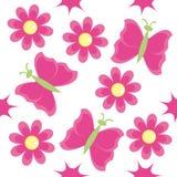 Nahtloses Muster mit rosafarbenen Blumen Stockfotos