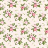 Nahtloses Muster mit Rosarose knospt und verlässt. lizenzfreie abbildung