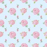 Nahtloses Muster mit Rosen auf einem Blau lizenzfreie abbildung