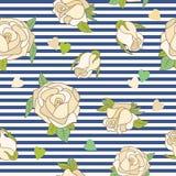 Nahtloses Muster mit Rosen auf einem gestreiften Hintergrund Stockfotos